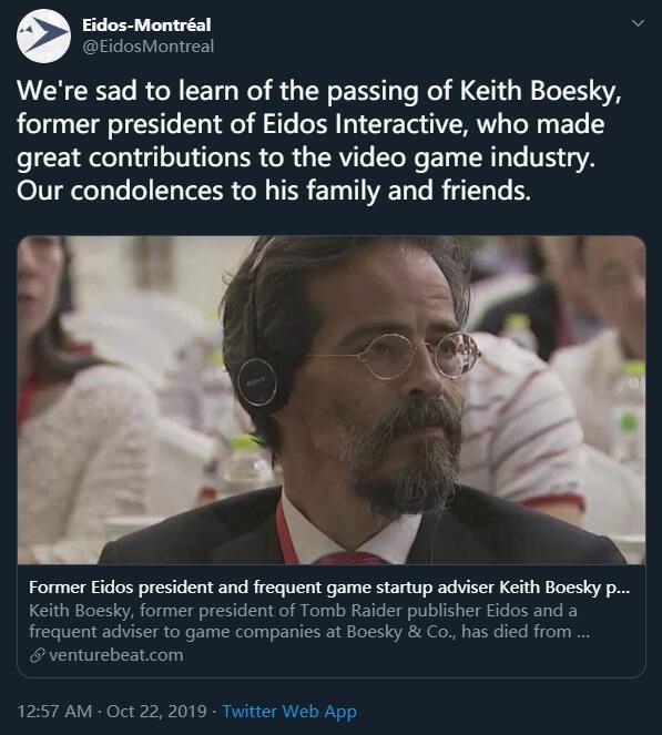古墓丽影开发公司Eidos前总裁KeithBoesky去世_游戏