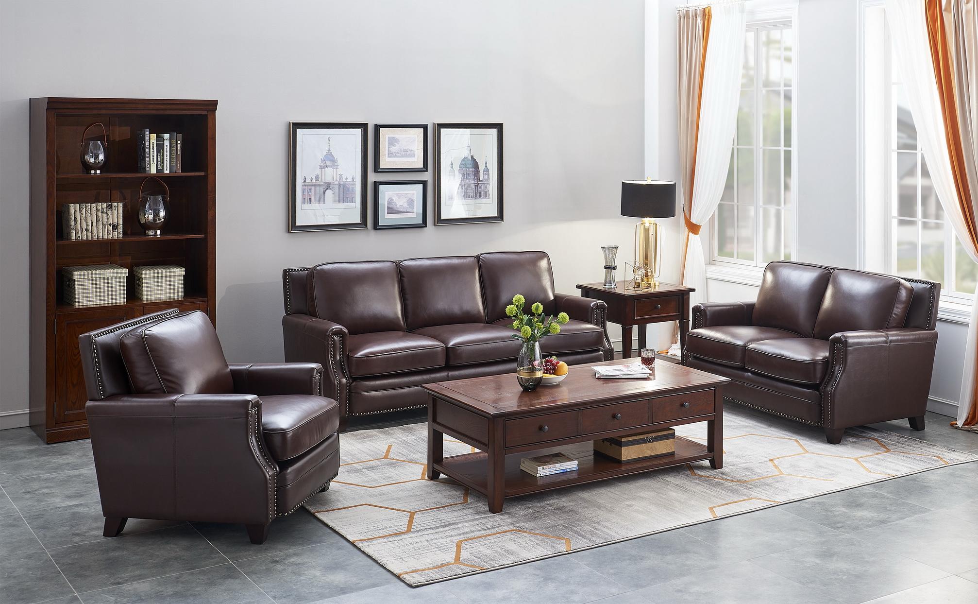 高档办公家具选现代美式真皮沙发