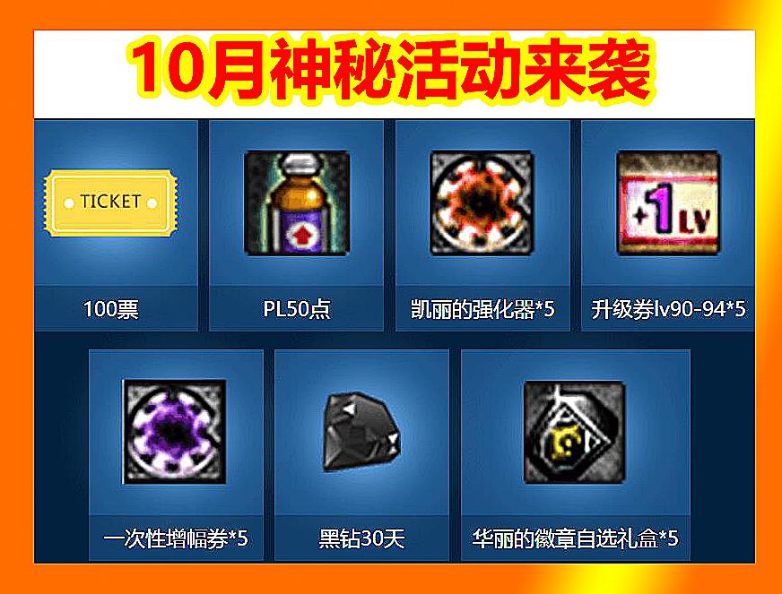 DNF10月DPL奖励来袭:黑钻华丽徽章自选,锻造炉强化器,平民专属