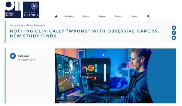 牛津大学:无法证明游戏成瘾是疾病,沉迷者或有挫败感_研究