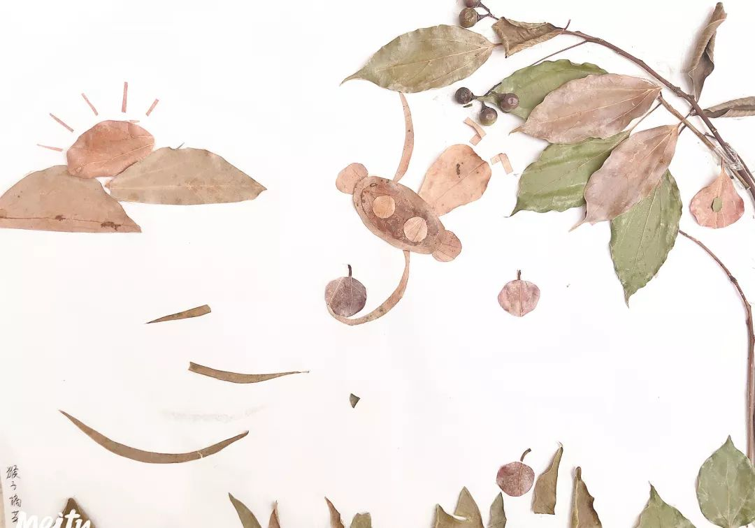 幼儿中班手工树叶贴画图片欣赏-编织乐论坛