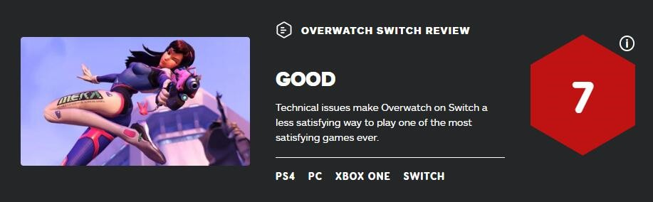 NS版《守望先锋》IGN7分:并非最佳体验选择