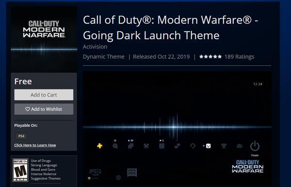 《使命召唤:现代战争》免费PS4动态主题上线