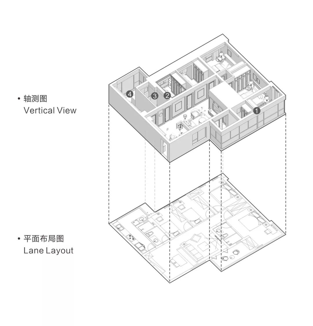 135平的現代輕奢風四居室,橫廳這樣設計更寬敞