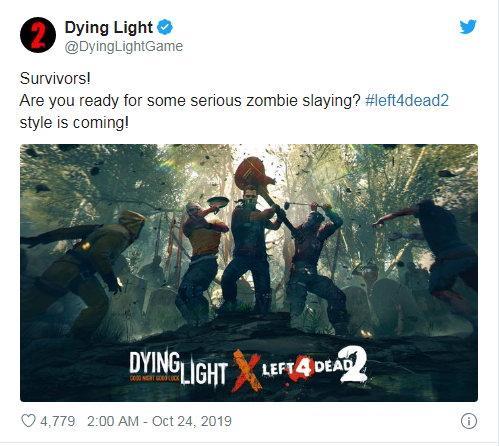 《消逝的光芒》将与《求生之路2》联动推出皮肤饰品?