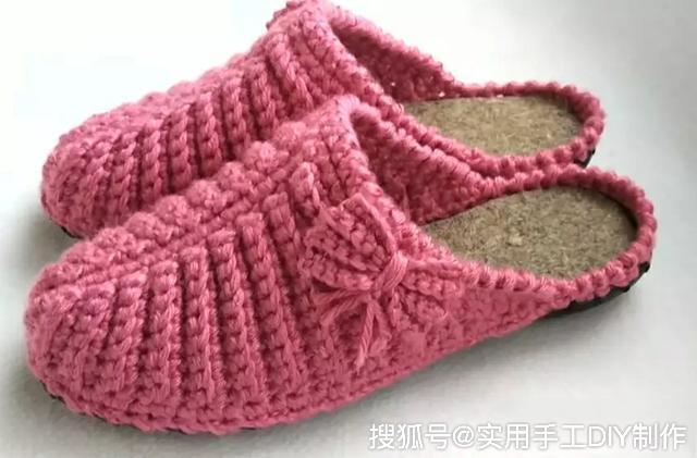 钩编图解 用钩针编织的漂亮拖鞋