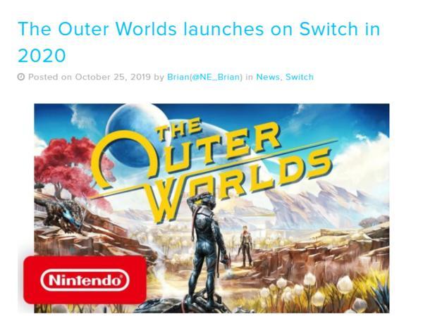 《天外世界》发行商确认:Switch版游戏2020年内发售_移植