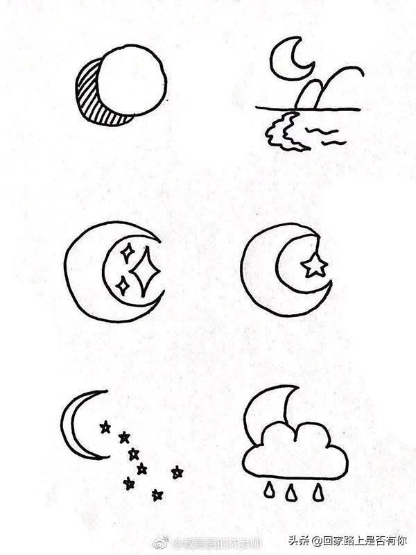 年轻父母带着孩子一起学画天空类型的简笔画