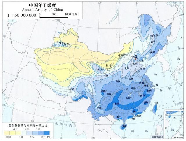 中国干湿地区空白图_我国的干湿地区划分,从东南沿海到西北内陆,从湿润区变到 ...