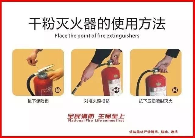 手提式干粉灭火器使用方法【简易四步】   第一步:提起灭火器