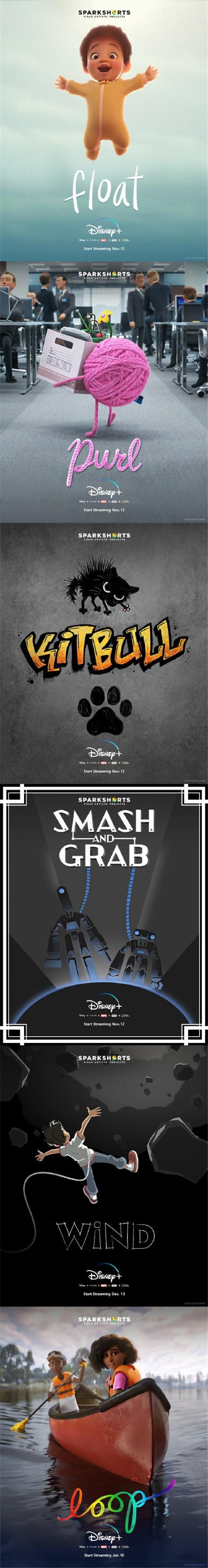 皮克斯为迪士尼流媒体Disney+上线打造了六部动画短片