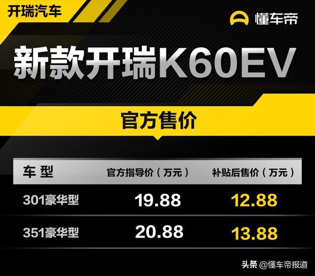 定位电动紧凑型SUV,补贴后销量1288-1388万,新款凯瑞K60EV上市