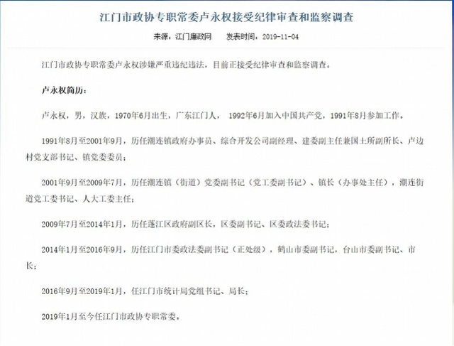 江门市政协专职常委卢永权接受纪律审查和监察调查