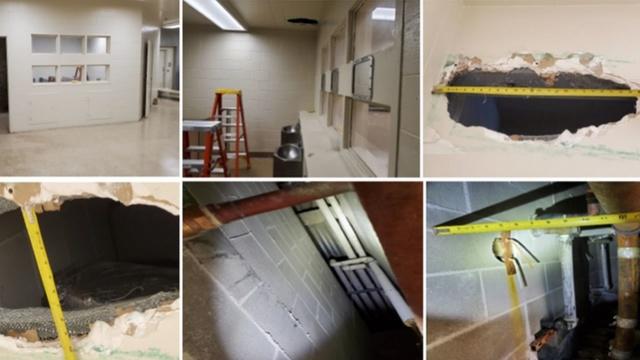 现实版越狱!加州两杀人犯牢房厕所天花板打洞逃出监狱
