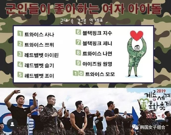 韓軍隊中進行的女團人氣選票,軍人最愛的女愛豆TOP10!