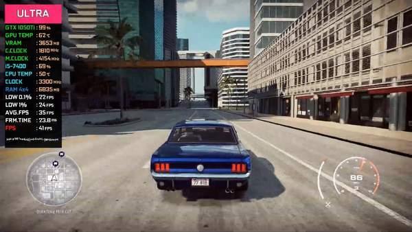 《极品飞车21》PC版GTX1050Ti性能展示极限画质40帧_视频