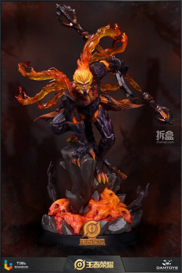 DAMTOYS×腾讯《王者荣耀》地狱火-孙悟空锋芒荣耀典藏版1:8雕像_火焰