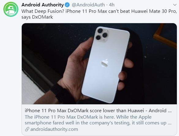 苹果iPhone 11 Pro Max DxO得分再输华为Mate 30 Pro,外媒发问_Deep