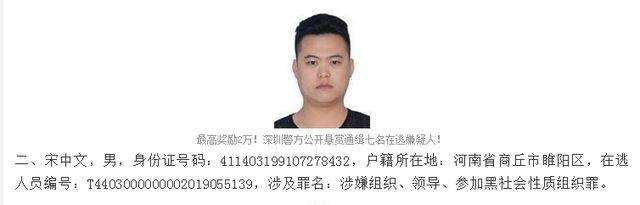 90后深圳涉黑骨干数月内悬赏金涨至5万!团伙组织卖淫以黄养黑