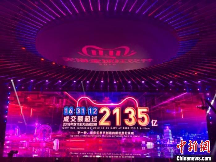 2019天猫双11成交额破2135亿 16