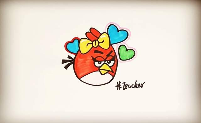 简笔画 愤怒的小鸟