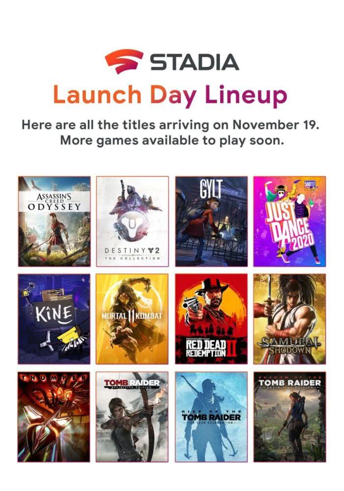 谷歌Stadia云游戏平台首发12款游戏名单确认