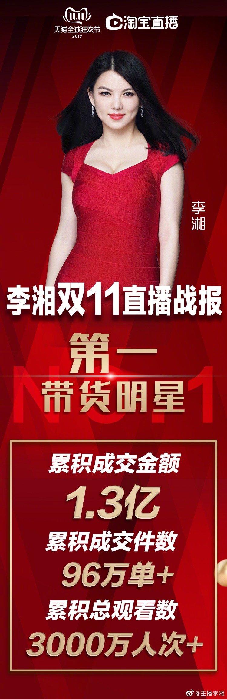 李湘双11成交1.3亿超嘚瑟,曾直播展示卫生巾