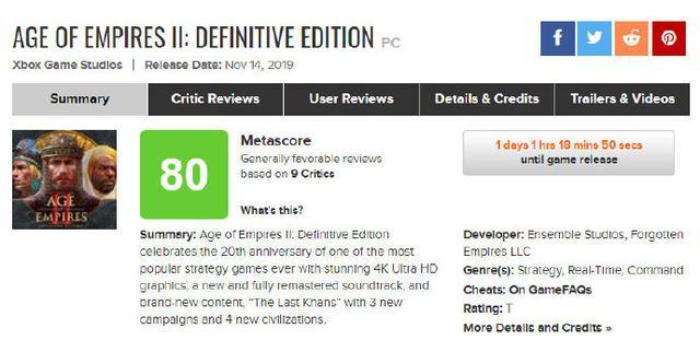 《帝国时代2:决定版》媒体分解禁M站均分80PCGamer78分_游戏