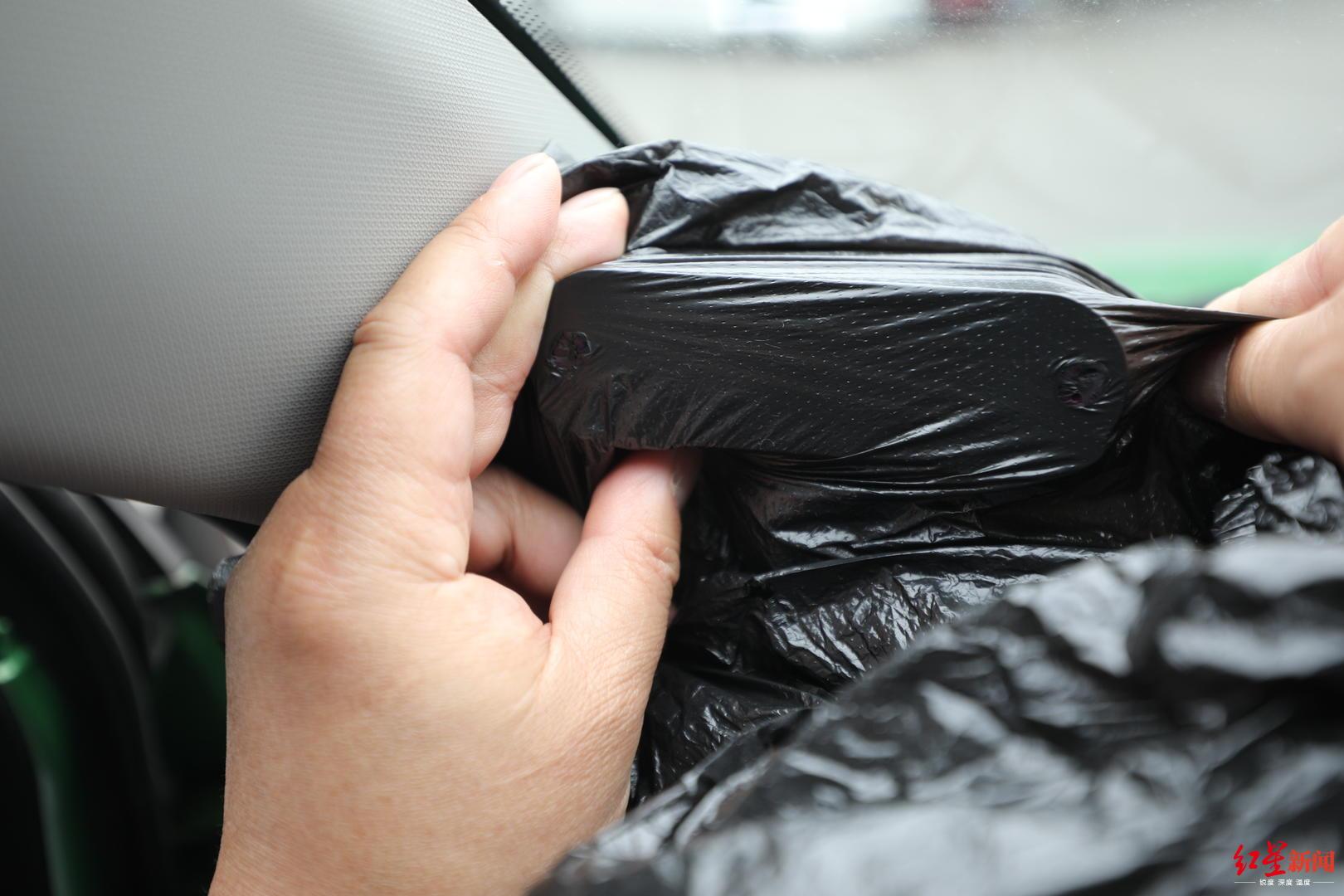 囡囡百度影音出租车监控设备十几秒射穿塑料袋