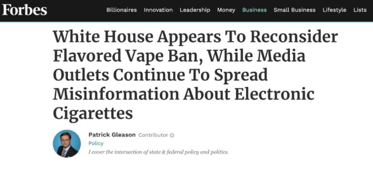 福布斯:美国电子烟监管迎转机 大众需分清好坏_尼古丁