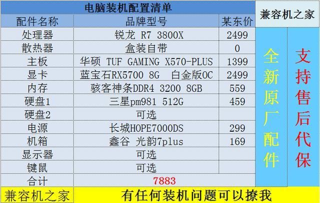 3700X配B450舒服了?不如加251块上3800X,再配X570主板一步到位_配置