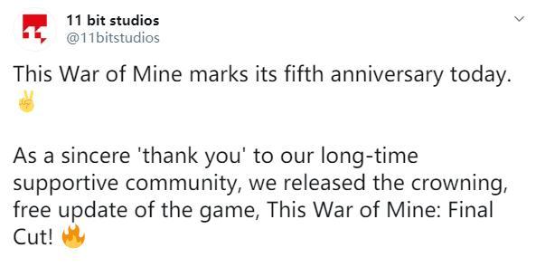 《这是我的战争》发售5周年最终剪辑版现已免费更新