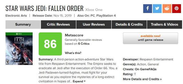 《星球大战绝地:陨落的武士团》评分解禁:IGN9分GS8分M站86