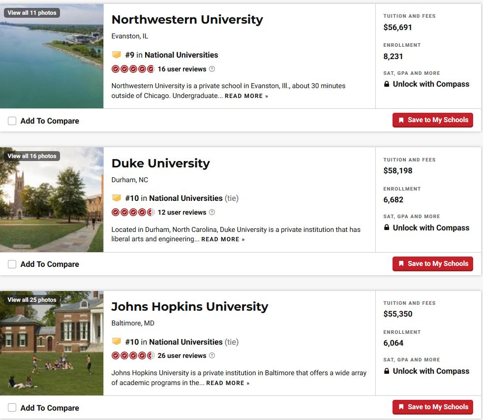 2020年US.NEWS美国综合大学本科排名Top100雅思成绩要求