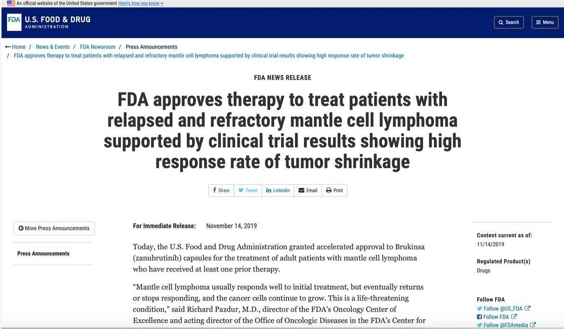历史突破!中国本土自主研发抗癌药 首次获批在美国市场销售