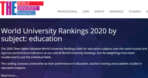 原创2020年THE世界大学学科【教育】排名:北京大学首进top15!