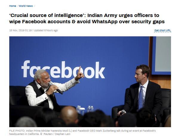 担心情报泄露,印度军方敦促官员远离脸书与WhatsApp