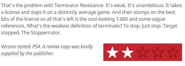 《终结者:反抗军》媒体评分解禁IGN仅仅给出4分_游戏