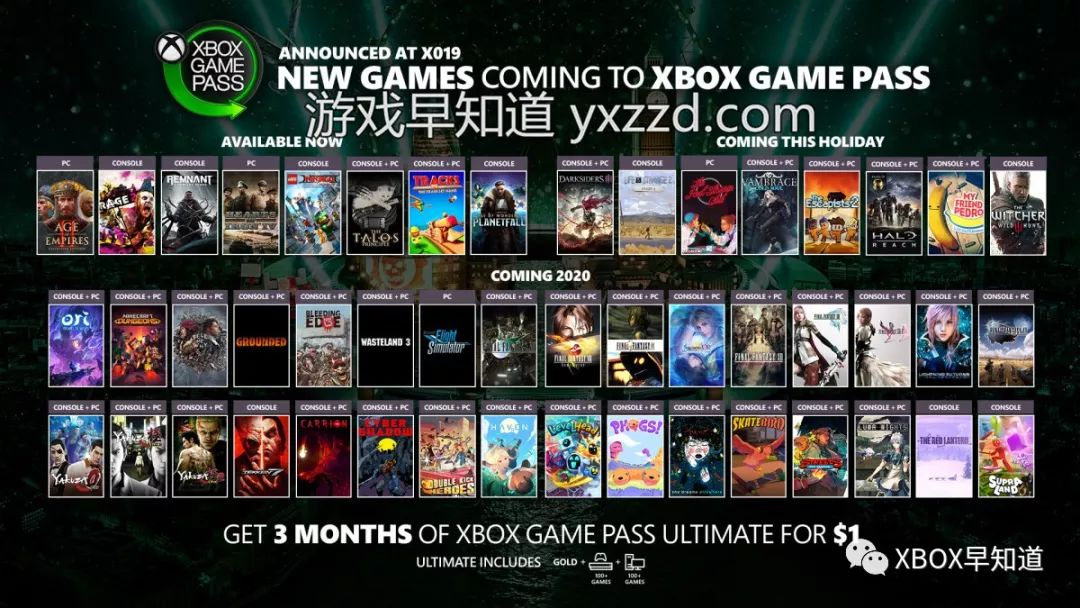 【X019】超50款作品将陆续加入Xbox游戏通行证 含《巫师3》《狂怒2》《最终幻想》《如龙》系列
