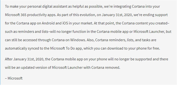 微软确认移除Android、iOS、微软Launcher的Cortana功能