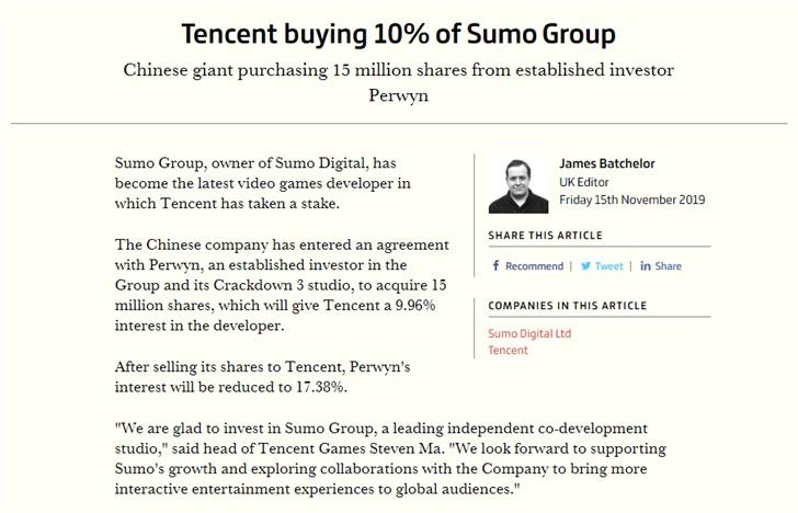 腾讯入股《团队索尼克赛车》开发商,持股占比约10%_Sumo