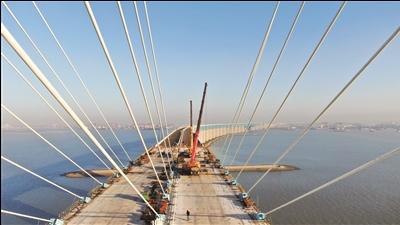 沪通长江大桥最后两根斜拉索架设到位