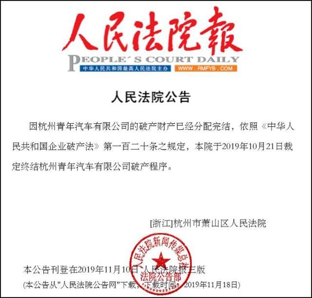 每天车闻:杭州青年汽车正式破产