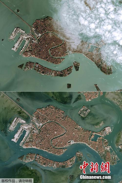 中国报关网意大利威尼斯水位居高不下 卫星照片