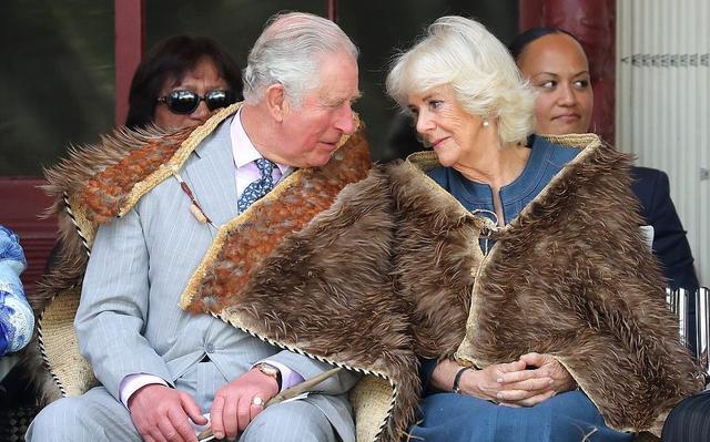 卡米拉在新西兰秀衣品停不下!蓝裙配斗篷太惹眼,和查尔斯好甜蜜