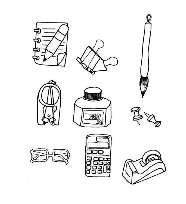各类日用品 家电 桌椅 文具简笔画教程