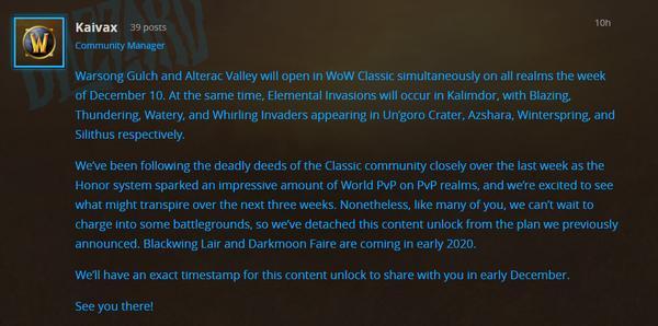 《魔獸世界》懷舊服奧山與戰歌戰場將于下月開放