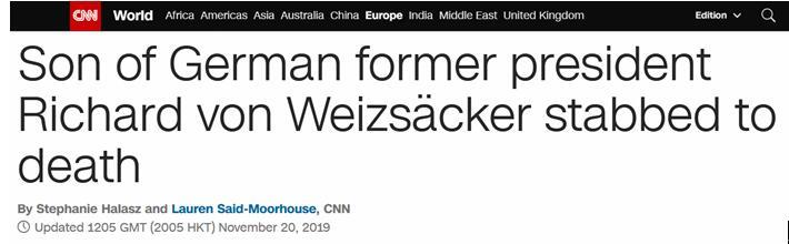 德国前总统之子遇刺身亡,默克尔表示哀悼_弗里茨