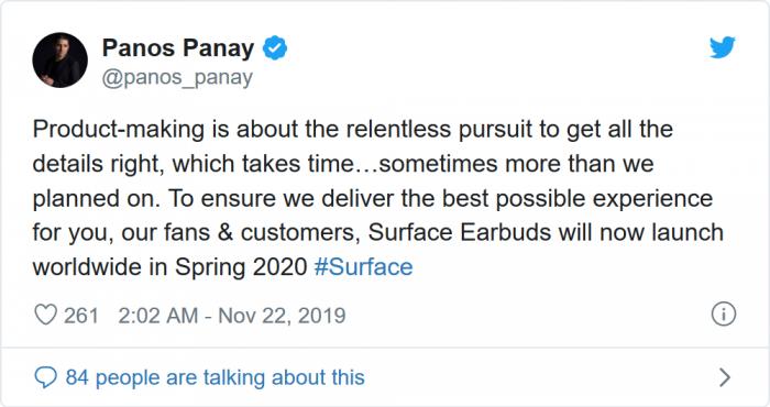 Surface之父:微软真无线耳机推迟至2020年上市
