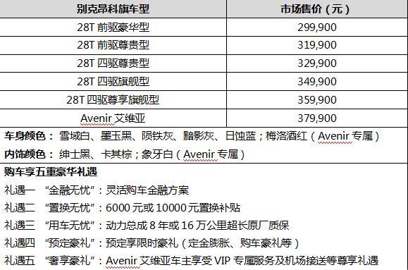 别克昂科旗和安科旗Avenir上市价格在29.99-37.99万元之间